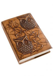 Leather Owl Notebook, Handmade Paper