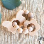 Toddler Babies wooden teether Flower and Butterfly teether